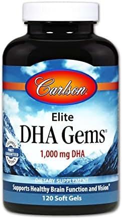 Carlson Elite DHA Gems, 1,000 mg DHA, 120 Soft Gels