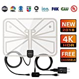 Digital HDTV Antenna UPGRADED 2018 VERSION-Support All 1080P 4K TVs 50+ Miles High Definition with UL USB Adapter Advanced Amplifier Signal Booster Indoor and 16.5FT Coax Cable for Digital Freeview