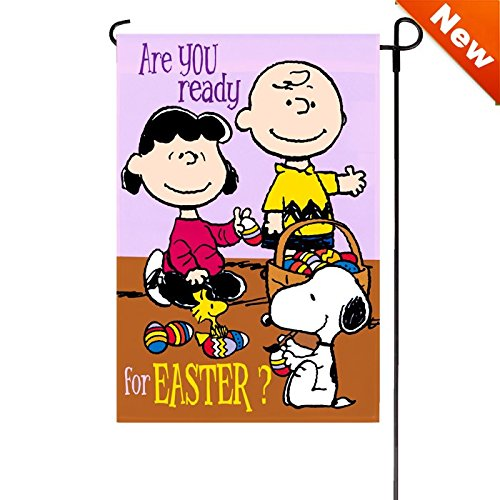 PEANUTS GANG Are YOU Ready for EASTER ? Garden Flag 12