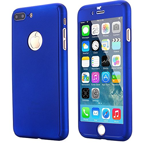iPhone 7 Plus Case,AICase Ultra Thin Full Body Coverage Protection Soft PC [Dual Layer][Slim Fit] Case with Tempered Glass Screen Protector for iPhone 7 Plus (Blue)