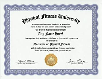 com physical fitness degree custom gag diploma doctorate  physical fitness degree custom gag diploma doctorate certificate funny customized joke gift novelty