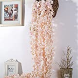 Crt Gucy 2 Pack 13 FT Artificial Hydrangea Flower Vine Wisteria Vines Cattleya Flowers Plants For Home Hotel Office Wedding Party Garden Craft Art Décor, Champagne