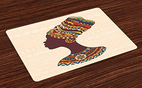 Ambesonne Tribal Place Mats Set of 4, African Woman in Traditional Ethnic Fashion Dress Portrait Glamour Graphic, Washable Fabric Placemats for Dining Room Kitchen Table Decor, Cream and Brown