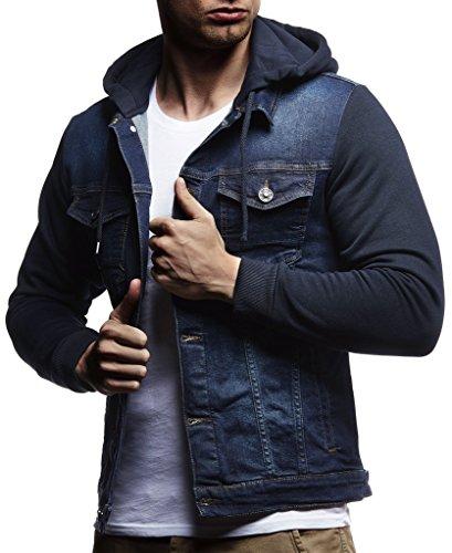 Leif Nelson Herren Sweat-Jacke Denim Vintage Jeans-Jacke für Männer mit Kapuze Slim-Fit Langarm Freizeit Hoodie verwaschen, Casual