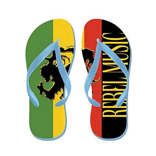 Cafepress Reggae Rebel Music Rasta - Infradito, Divertenti Sandali Infradito, Sandali Da Spiaggia Blu Caraibico