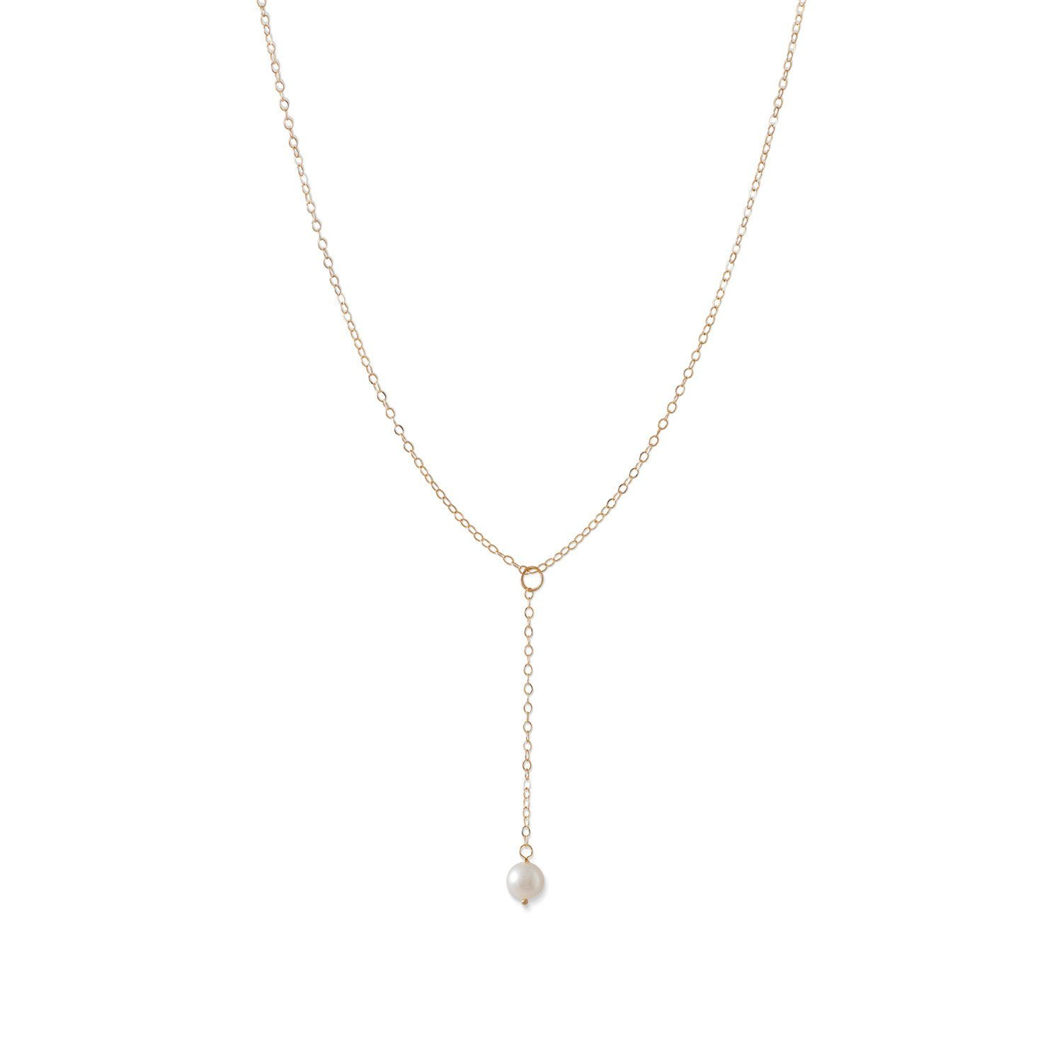 Cultured Freshwater Pearl Necklace Y-style 14k Yellow Gold