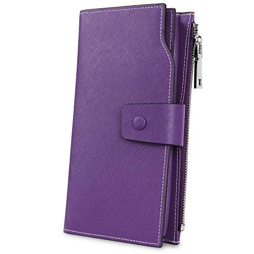 YALUXE Women's Genuine Leather RFID Blocking Large Capacity Luxury Clutch Wallet Card Holder Organizer Ladies Purse Wallets for women