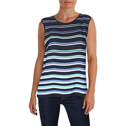 Tommy Hilfiger Womens Striped Sleeveless Shell Navy ()