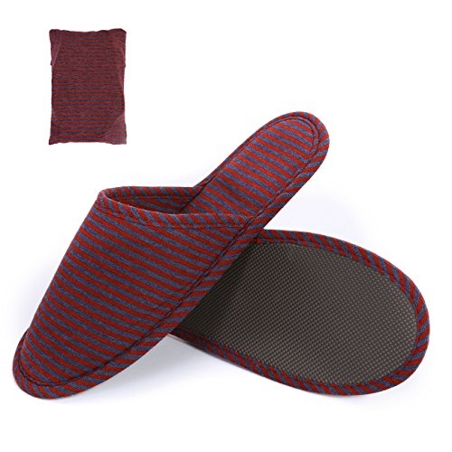 Super Sole SUSYBAO Slip Slippers with Knitted Breathable Red Non Soft Foldable Lightweight Cotton Travel wTTqZErv