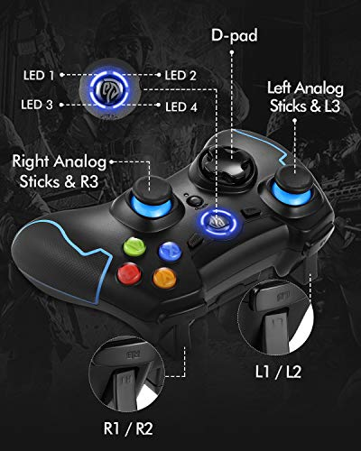 EasySMX 2.4G Wireless Controller for PS3, PC Gamepads with Vibration Fire Button Range up to 10m Support PC (Windows XP…