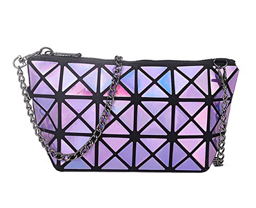 Handbags Wristlet Flada Purse Shoulder Hologram Purple Clutch Geometric Leather Plaid Girl's wUP6qBz