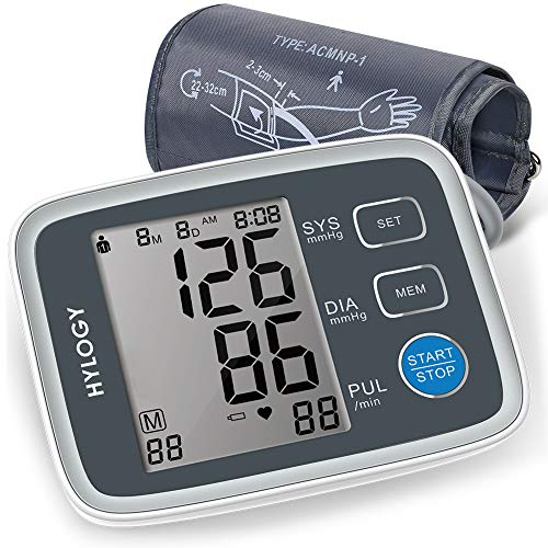 Automatic Arm - Blood Pressure Monitor, HYLOGY Digital Automatic Upper Arm BP Monitor Cuff 8.7 to 12.6 Inch, Large Screen Display and 2 Users Mode 2 * 90 Memory Storage
