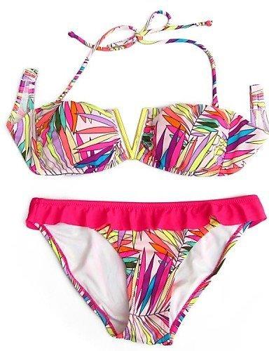 ZQ Mujer Bandeau push-up Bikinis, diseño floral Nylon/Spandex rosa, pink-xs, talla única pink-xs