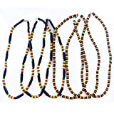 FROG SAC Rasta Necklace Men - Mens Jamaican Green Yellow Red Black Wooden Beads Necklaces - Reggae, Africa, Hippie, Rastafari, Irie Accessories-Boys Party Favors-Summer Exotic Jewelry (6 pcs)