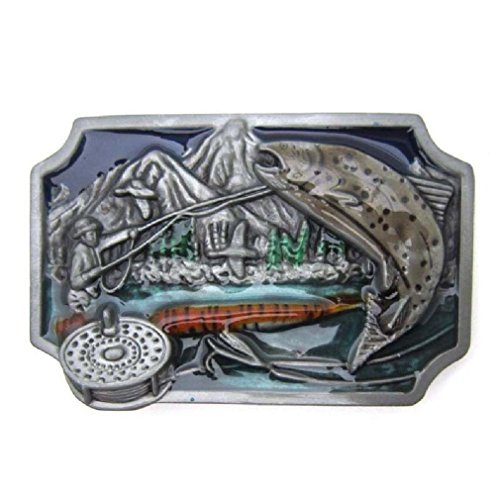 Pewter Brass Fishing Fly Fish Metal Belt Buckle Vintage Cowboy Wildlife Fisher -