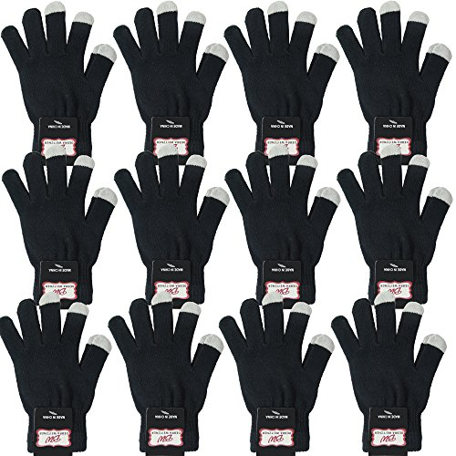 Winter Knit Touchscreen Magic Gloves For Mens Womens 12 Pairs Black By Debra Weitzner