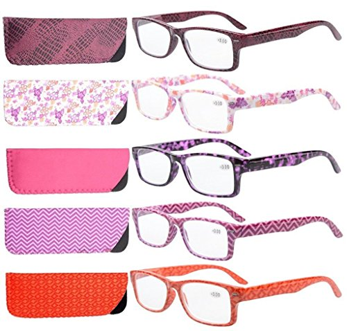 Eyekepper 5-Pack Spring Hinges Patterned Rectangular Reading Glasses Readers Women +2.0 ()