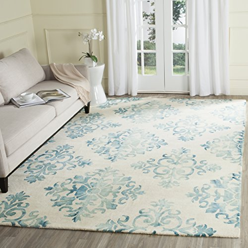 Safavieh DDY720Q-8 Dip Dye Collection Handmade Geometric Medallion Watercolor Wool Area Rug, 8' x 10', Ivory/Light Blue