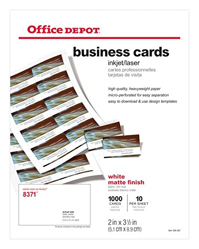 (Office Depot Matte Business Cards, 2in. x 3 1/2in, White, Pack of 1,000,)
