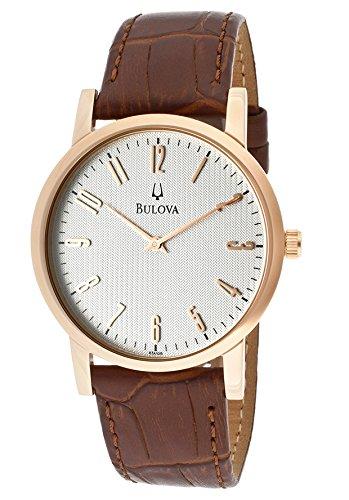Bulova Men's Light Silver Dial Brown Genuine Leather