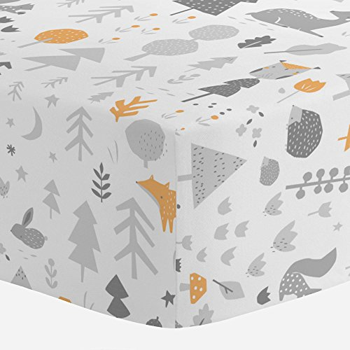 Carousel Designs Light Orange and Silver Gray Baby Woodland Crib Sheet - Organic 100% Cotton Fitted Crib Sheet - Made in the USA (One Woodlands Light)