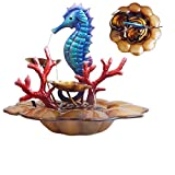 Comfy Hour 13″ Blue Metal Art Under The Sea Seahorse With Ocean Corals Water Fountain Tabletop