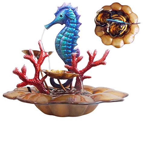 "Comfy Hour 13"" Blue Metal Art Under The Sea Seahorse With Ocean Corals Water Fountain Tabletop"