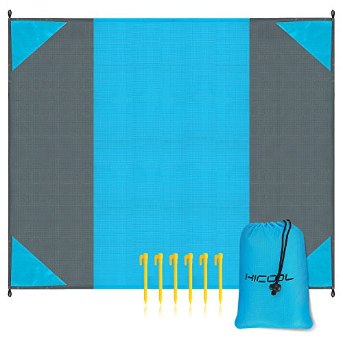 HiCool Beach Blanket, Beach Mat Picnic Blanket Mat Waterproof Sand-Resistant Lightweight Compact Pocket Blanket with 6 Stakes Oversized 9 x 7 for Picnic Camping Hiking Traveling