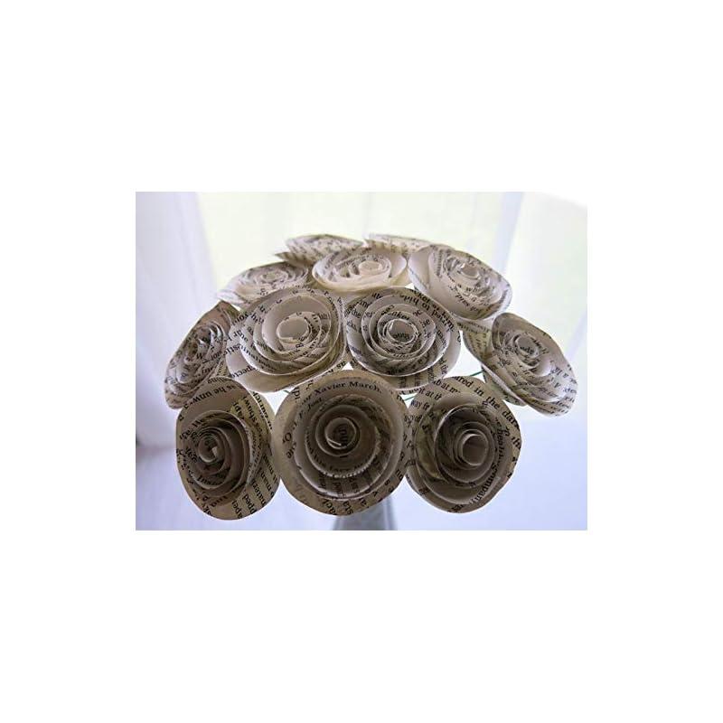 silk flower arrangements classic book page roses on stems 1.5 inch paper flower bouquet one dozen literary theme wedding centerpiece