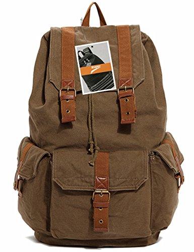 Leaper Vintage Multi-functional Canvas Backpack /Rucksack/ School Bag /Travel Bag (Army Green)