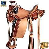 HILASON Western Horse Wade Saddle Leather Ranch Roping Mahogany