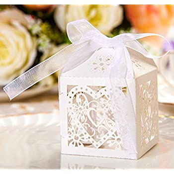 Amazon 50pcs Party Wedding Favor Candy Box With Ribbon Laser