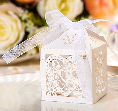 50pcs Party Wedding Favor Candy Box With Ribbon Laser Cut Love Heart Chocolate Gift Boxes Bonbonniere for Birthday Bridal Shower Valentine's Day Christmas Decoration - Heart Laser Cut