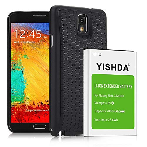 YISHDA 7000mAh Extended Li-ion Replacement Battery Compatible with Samsung Note 3 with Back Cover & TPU Case for N9000 N9005 N900A N900V N900P N900T | Galaxy Note 3 Battery [18 Month Warranty] (Samsung Galaxy Note 3 Extended Battery Case)