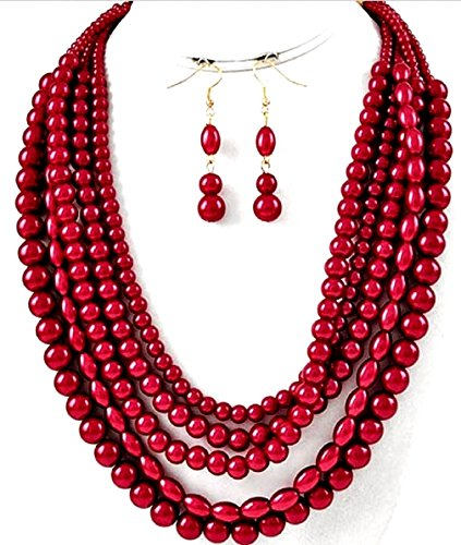 Chunky Beaded Necklace Earring (Simple Statement Beaded Layered Strands Red Pearl Beads Gold Chain Necklace Earrings Set Gift Bijoux)