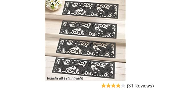 Crafted Butterfly Rubber Patterned Stair Set Non Slip//skid Treads Outdoor Mat
