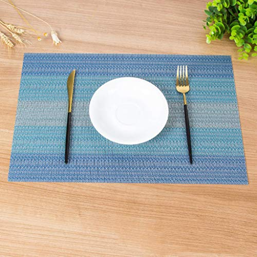 (JHFUH 6Pcs Home Dining Mat Insulation Washable Family Features Western Mat Heat Resistant Non Slip Table Mat for Home Dining Hall Kitchen Hotel Business Office Decoration)