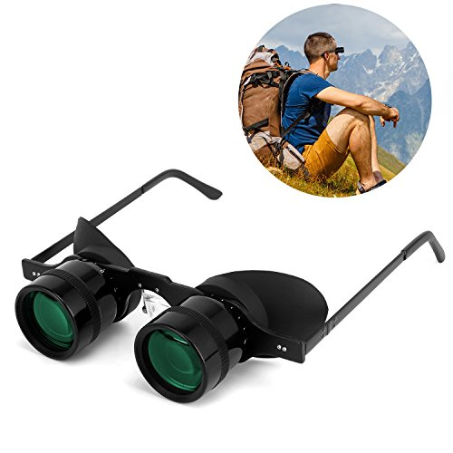 Professional Hands-Free Binocular Glasses for Fishing, Bird Watching, Sports, Concerts, Theater, Opera, TV, Sight Seeing, Hands-Free Opera Glasses for Adults Kids (Green Film Optics)-Upgraded