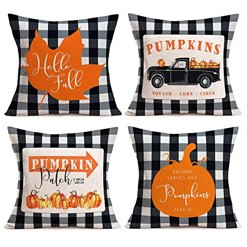 Asamour Pack of 4 Fall Buffalo Plaids Pumpkin Leaves Harvest Truck Throw Pillow Covers Autumn Farmhouse Decorative Cotton Linen Halloween Thanksgiving Blessing Quote Cushion Cover Pillow Case 18''x18' (Outdoor Fall Cushions)