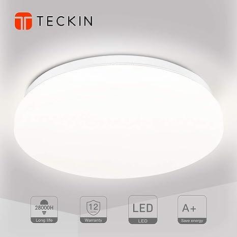 Plafon led de techo,lamparas de techo habitacion,TECKIN 18W Moderna LED Plafón para Baño Dormitorio Cocina Balcón Pasillo Sala de Estar Comedor 1500 ...