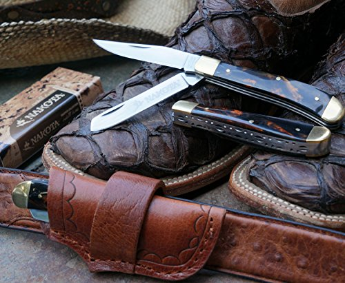 - Nakota Crockett Classic 2-Blade Trapper (PocketKnife with Premium Sideways Leather Sheath) Petrified Tiger Eye Amber Handle Style, Artistic Spine, Polished Steel, Lifetime Guarantee
