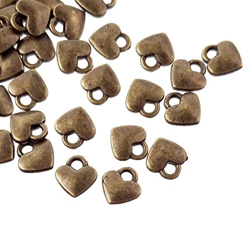 (Antique Bronze Metal Small Heart Charms for Jewelry Making, Bracelets- Lead, Cadmium Free- 8mm)