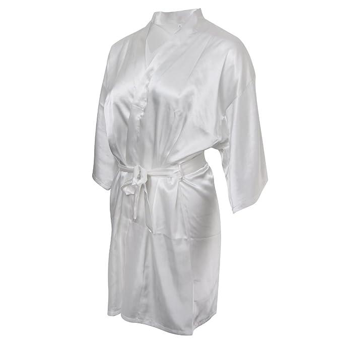 Gazechimp Novia Bata de Seda Bata Diamante de Imitación Regalo para Boda Ropa de Dormir Pijamas - Blanco, XXL: Amazon.es: Ropa y accesorios