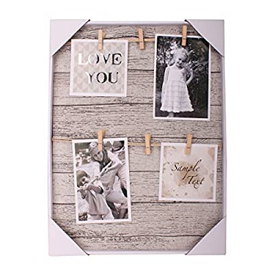 HANTAJANSS Clip Photo Holder, Picture Display Frame, Photo Collage Board, Wood Hanging Frames with 6 Clips for Home Wall Decor, 12 ×16 Inches - 🏠 THE PERFECT MATCHED SIZE: We have learned lots of suggestions from customers to design this clip photo frame with approximately 12 × 16 inches size. 🏠 EXCELLENT FRAME MATTING: Considering many aspects, This unique mat design gives the ability for the photo to stand out and be easily shown without creating an aggressive environment! 🏠 EASY TO INSTALL - This clip photo holder goes with a metal pre-drilled holes on the back, It can be mounted on walls. No need for adhesive or special equipment! It is great as wall decor for living room, bedroom, gallery, office, and wedding anniversary. - picture-frames, bedroom-decor, bedroom - 51S%2B yhM4ZL. SS400  -