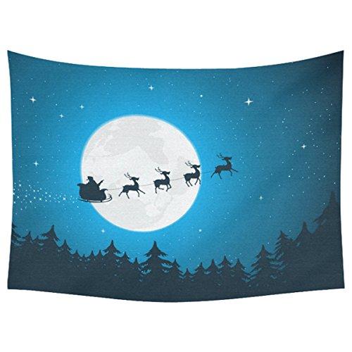 Full Moon Santa - InterestPrint Christmas Theme Home Decor Tapestries Wall Art,Night Sky Full Moon Santa Ride Tapestry Wall Hanging Art Sets 80 X 60 Inches