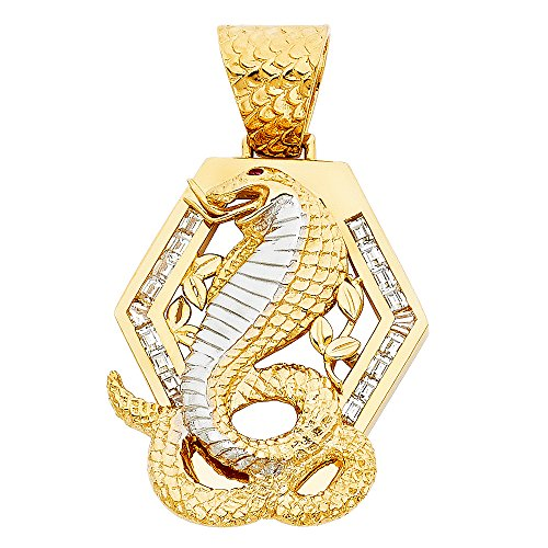 14k White And Yellow Gold CZ Viper Snake Pendant Charm