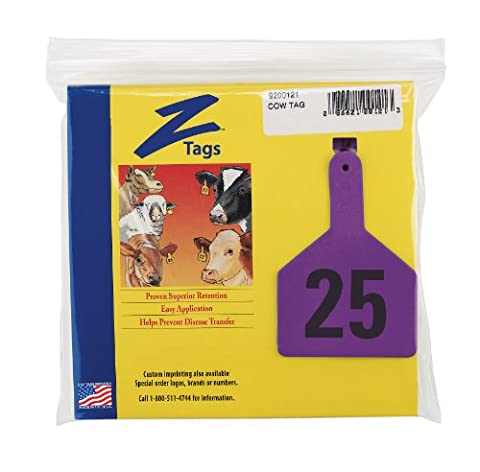 Z Tags 1-Piece Pre-Numbered Laser Print Tags for Cows, Numbers from 1 to 25, Purple