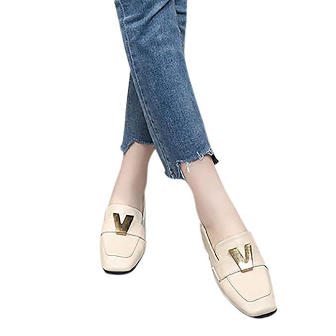 2019 Mocasines Mujer De PU De Color Solido Con Metal Decorativo Bombas Zapatos Solos De Tacón Ancho 3cm Con Ante Punta Cuadrada Retros Con Suelas Cómodas ...