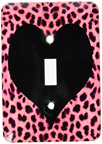 3dRose LLC lsp_20395_1 Punk Rockabilly Pink Cheetah Animal Print Black Heart Single Toggle Switch (Cheetah Print Light Switch Cover)