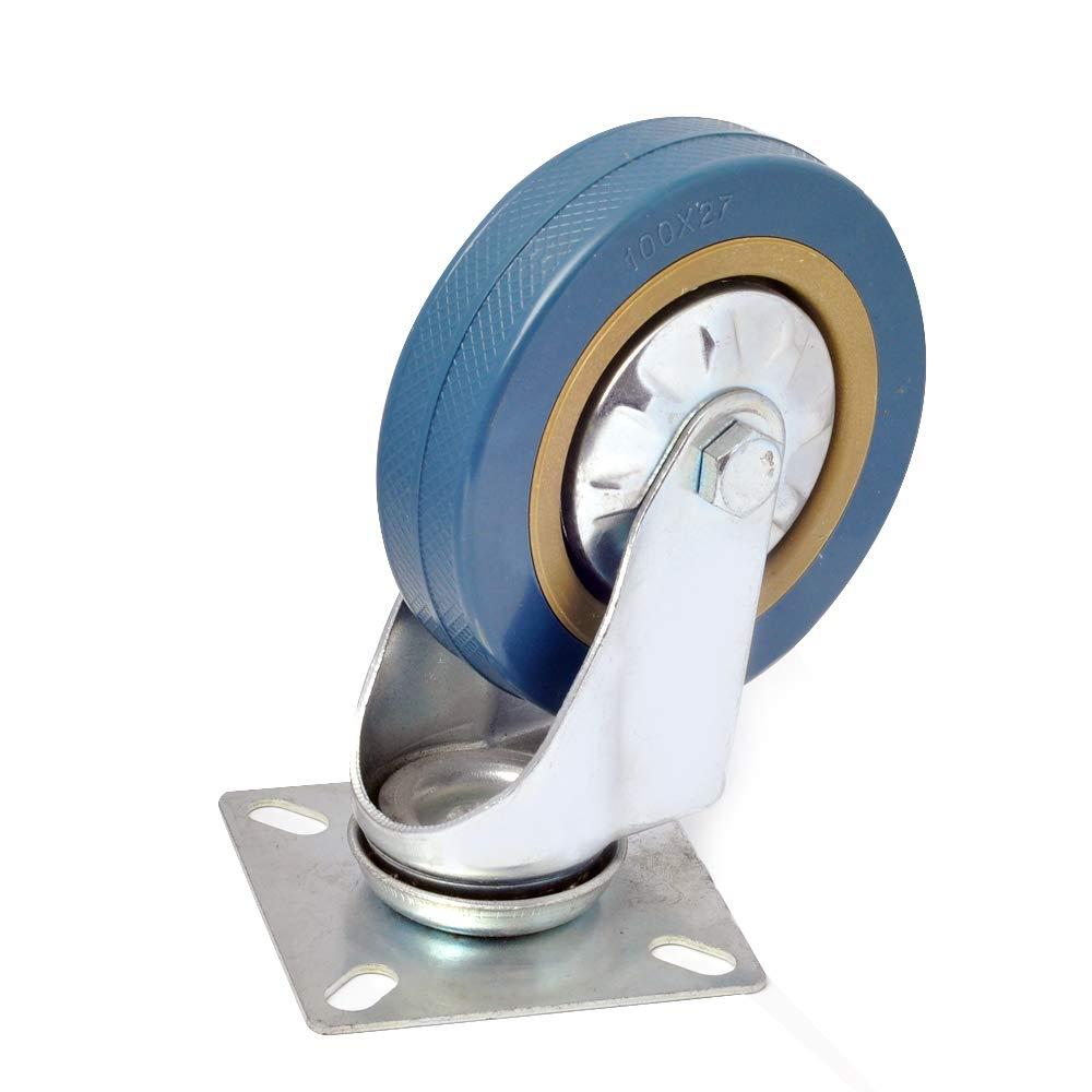 Ruedas giratorias de goma para muebles,Rueda Pivotantes Ruedas de Industrial Con Placa de Montaje 4 unidades 100mm